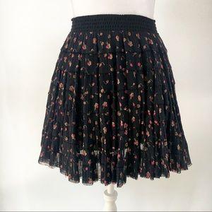Free People black pink floral boho miniskirt XS